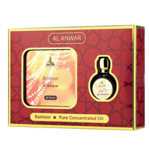 Hamidi Series Al Anwar, 2 Pieces Gift Sets, 40g Bakhoor + 15ml Concentrated Perfume Oil