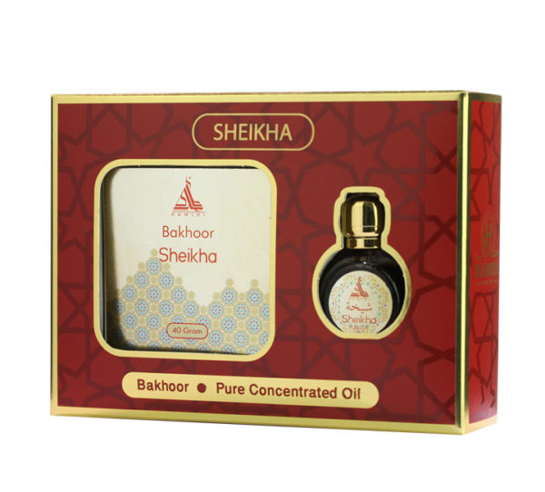 Hamidi Series Sheikha, 2 Pieces Gift Sets, 40g Bakhoor + 15ml Concentrated Perfume Oil